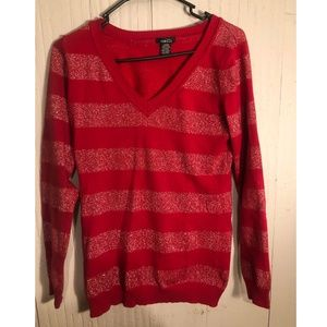 Red and glitter striped long sleeve sweater